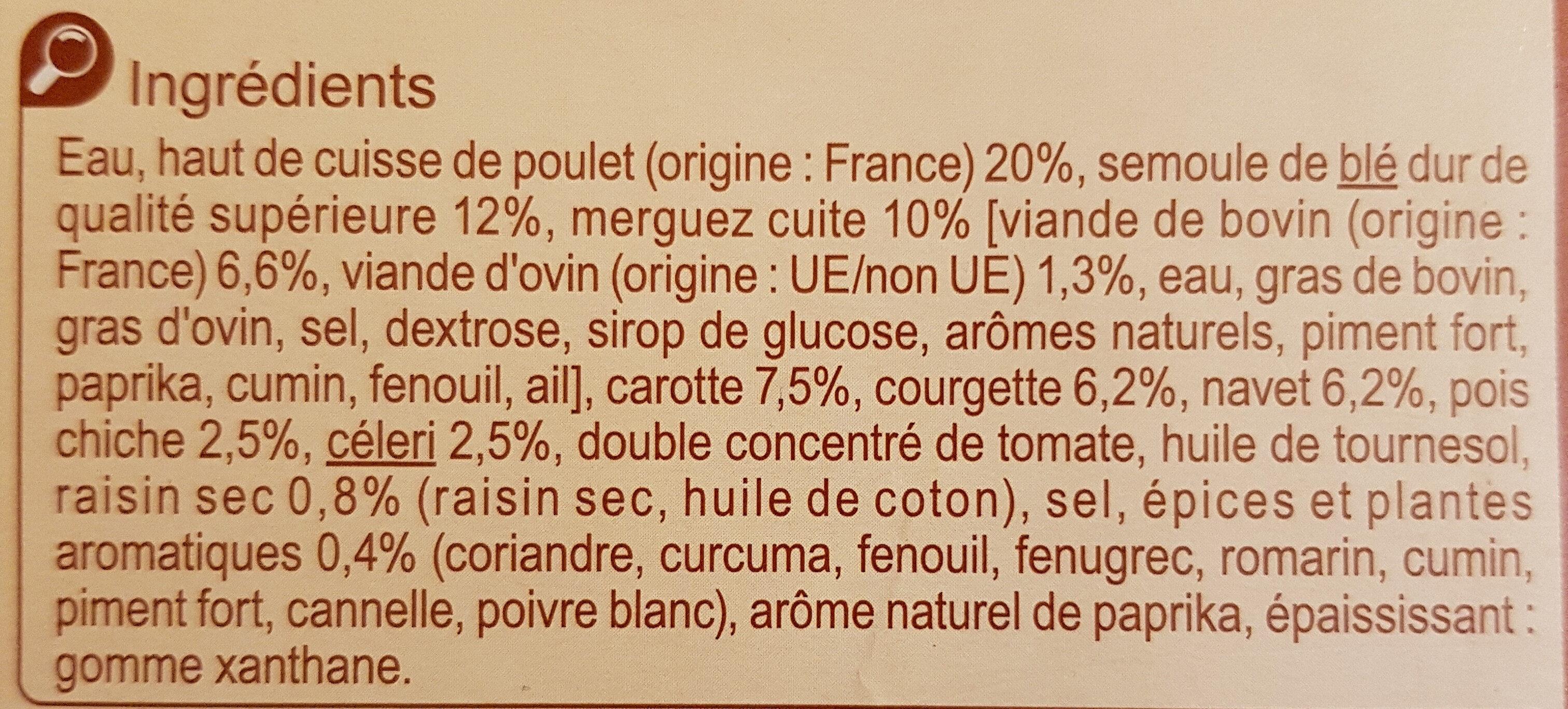 Couscous Poulet Merguez - Ingredients - fr