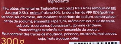 Tagliatelles à la carbonara Aux lardons fumés - Ingredients