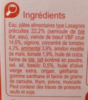 Lasagnes à la bolognaise à l'emmental - Ingrédients - fr