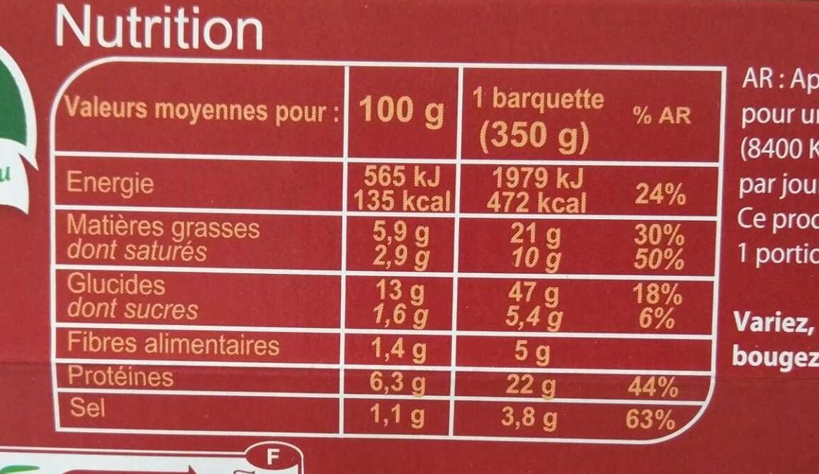 Lasagnes à la bolognaise à l'emmental - Informations nutritionnelles - fr
