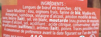 Langue de Bœuf sauce Madère - Ingredients