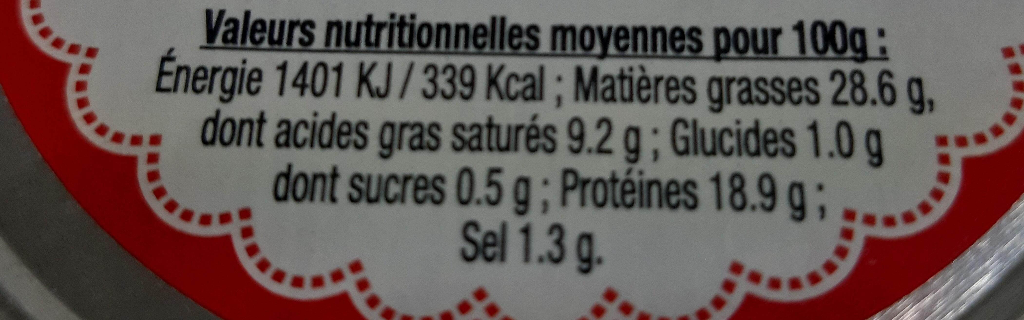 Rillettes de poulet roti en cocotte - Valori nutrizionali - fr