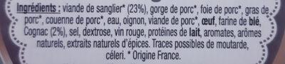 Terrine de sanglier au cognac - Ingrédients - fr