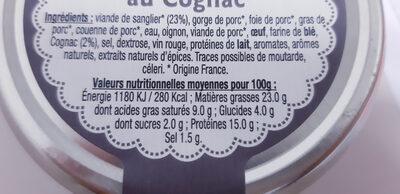 Terrine de sanglier au cognac - Informations nutritionnelles - fr