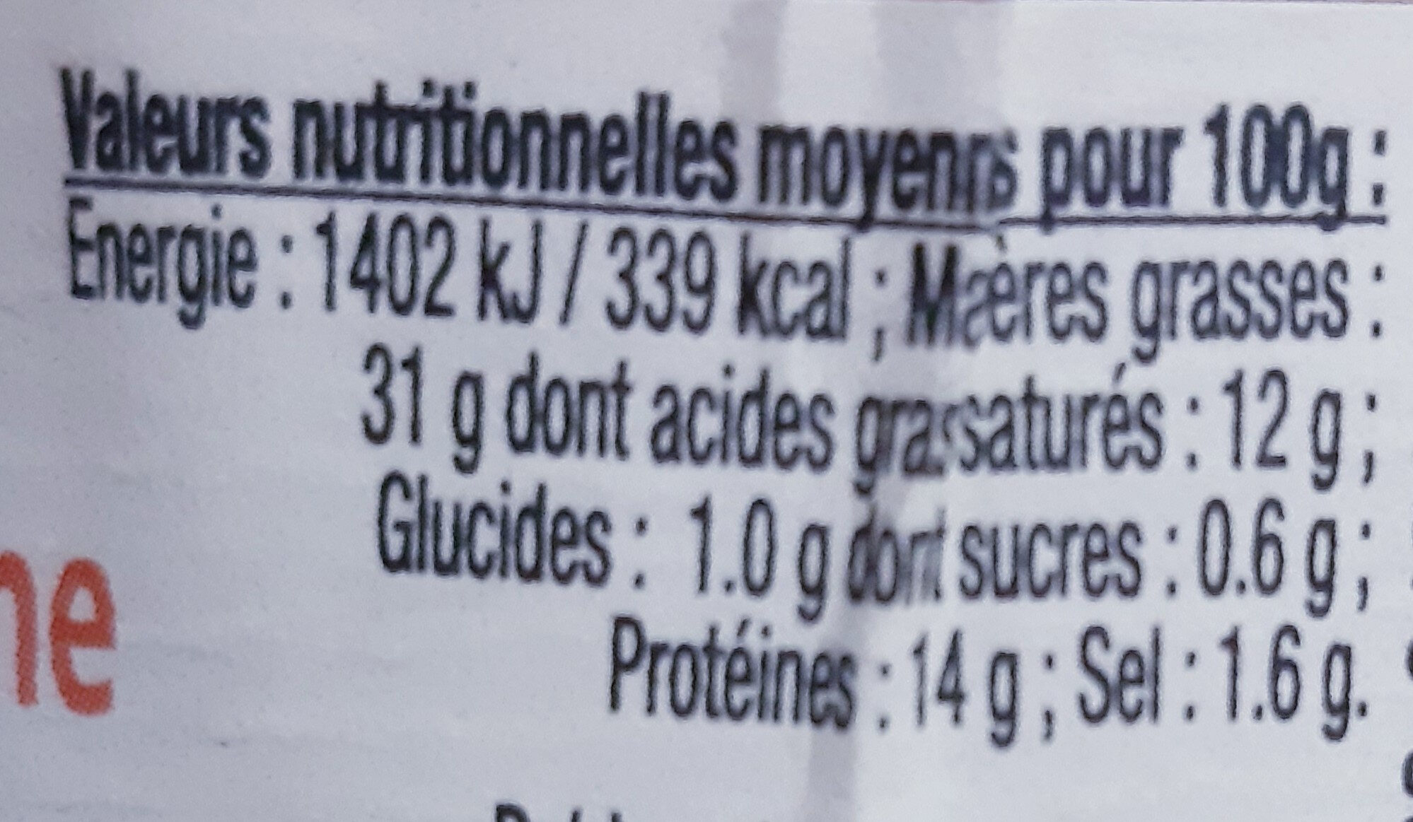 Terrine de Campagne au Foie Gras - Nutrition facts