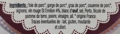 Terrine de Campagne au Saint Emilion Le Parfait - Ingredients