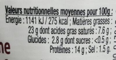 Terrine de Campagne au Saint Emilion Le Parfait - Nutrition facts