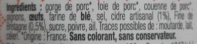 Pate de campagne breton au Cidre Artisanal IGP - Ingredienti - fr