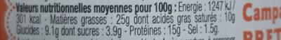 Pate de campagne breton au Cidre Artisanal IGP - Valori nutrizionali - fr