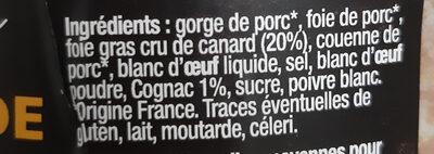 Terrine de Campagne au Foie Gras Le Parfait - Ingredients - fr