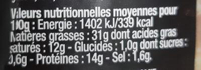 Terrine de Campagne au Foie Gras Le Parfait - Nutrition facts - fr