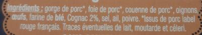 Pâté de Campagne au Cognac Label Rouge - Ingrédients - fr