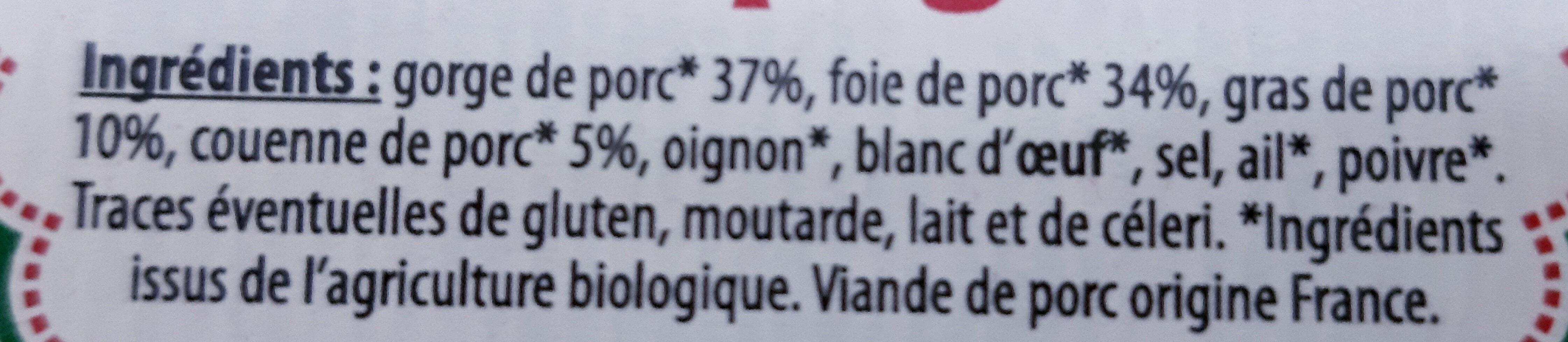 Pâté de campagne Bio - Ingrédients - fr