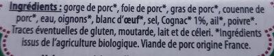 Pâté de campagne au cognac Bio - Ingrédients - fr