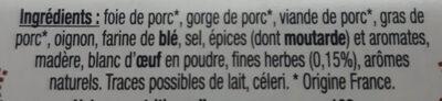 Terrine Campagnarde aux Fines Herbes 200g - Ingredients - fr