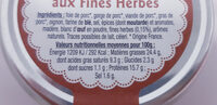 Terrine Campagnarde aux Fines Herbes 200g - Informations nutritionnelles - fr