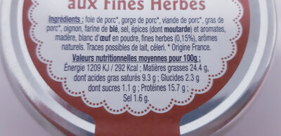 Terrine Campagnarde aux Fines Herbes 200g - Nutrition facts - fr