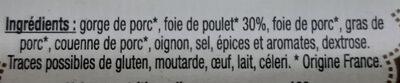 Terrine de Foie de Volaille 180g Mère Lalie - Ingredients - fr