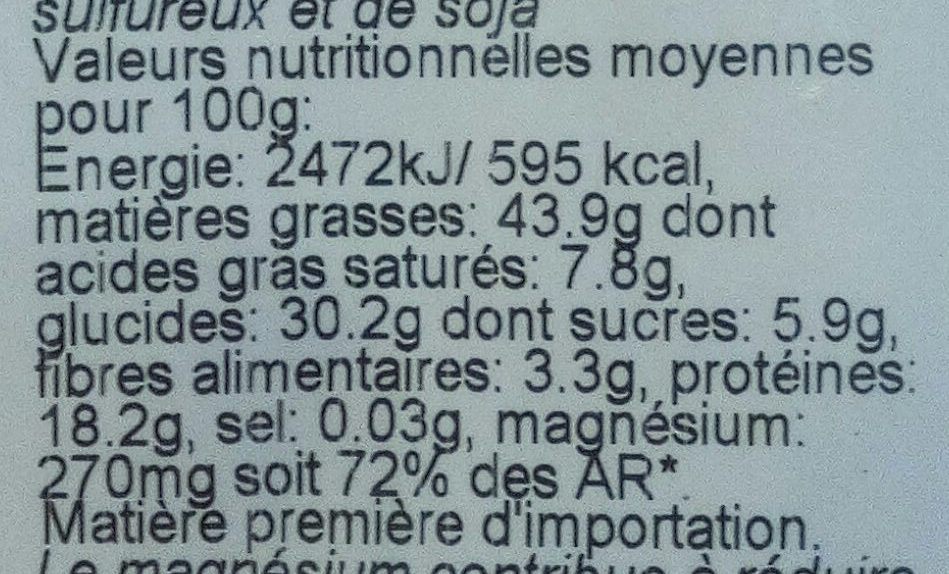 Noix de cajou grillées natures, sans sel - Nährwertangaben