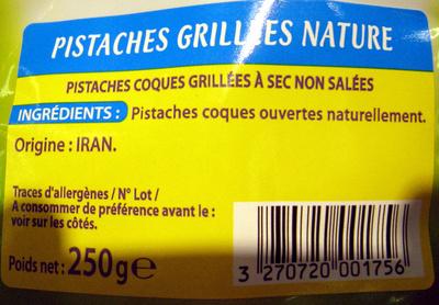 Pistaches grillées nature Daco Bello - Ingrediënten - fr