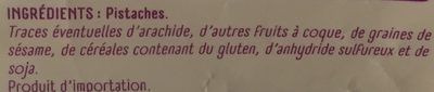 Pistaches Grillées à Sec (sans Sel Ajouté) - Ingrédients - fr