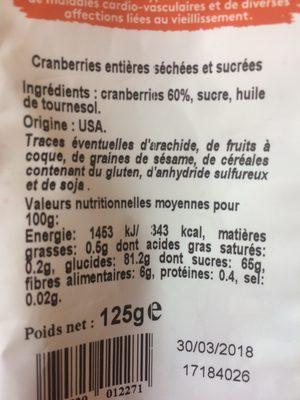 Cranberries - Ingredients