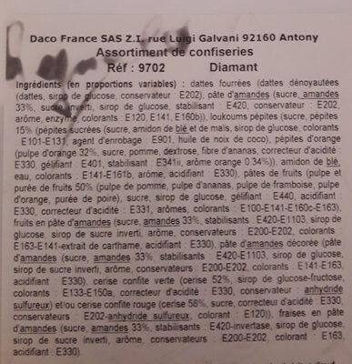 Assortiment de confiseries Diamant - Ingrédients