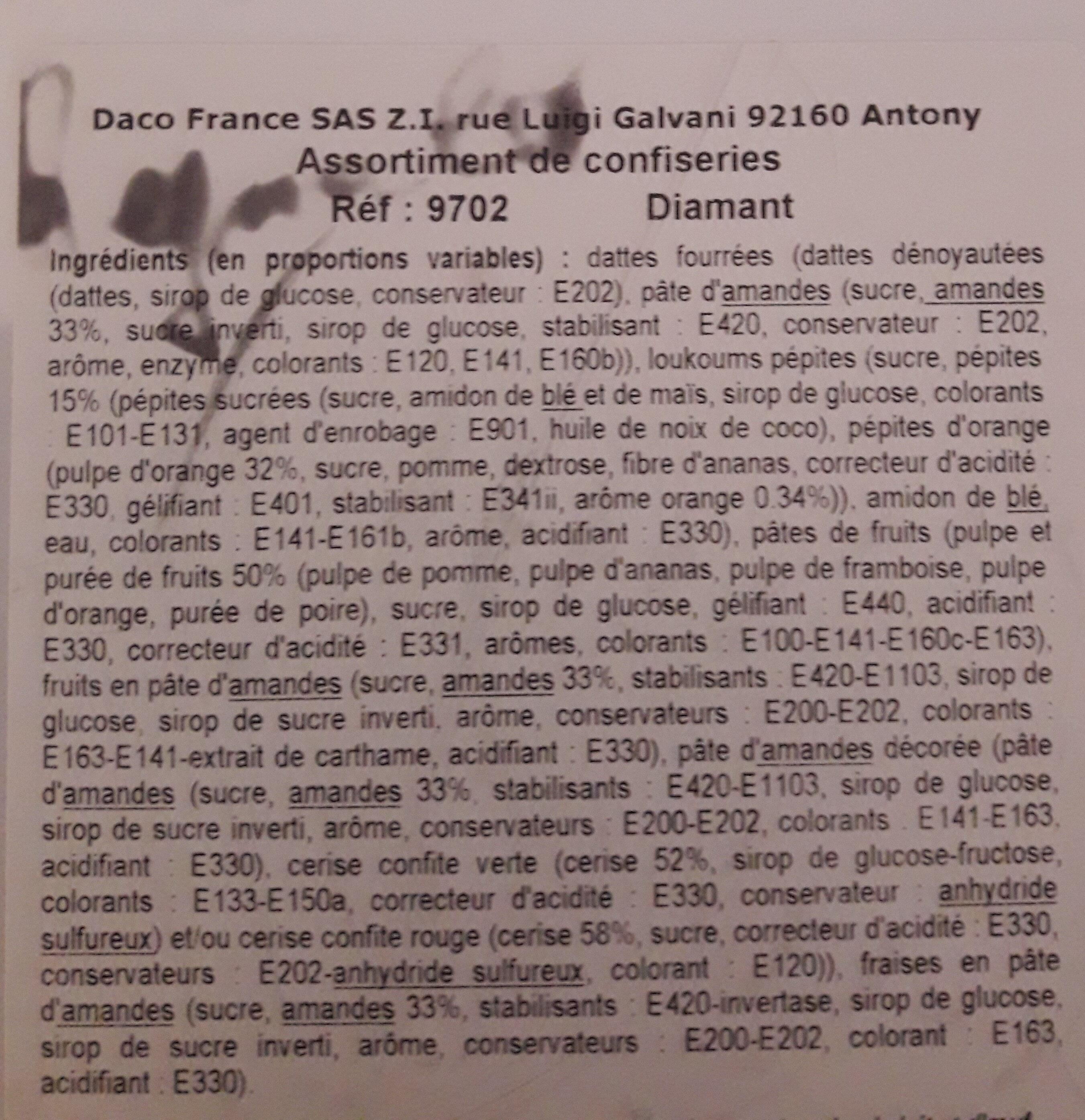 Assortiment de confiseries Diamant - Ingredients