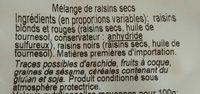 Trio de raisins - Ingrediënten - fr
