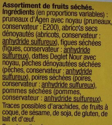 Fruit séché - Ingrediënten - fr