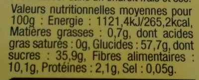 Fruit séché - Voedingswaarden - fr