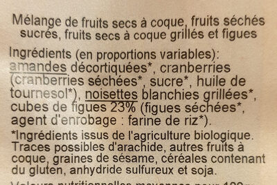 BIO Méli mélo Figue - Ingredienti - fr