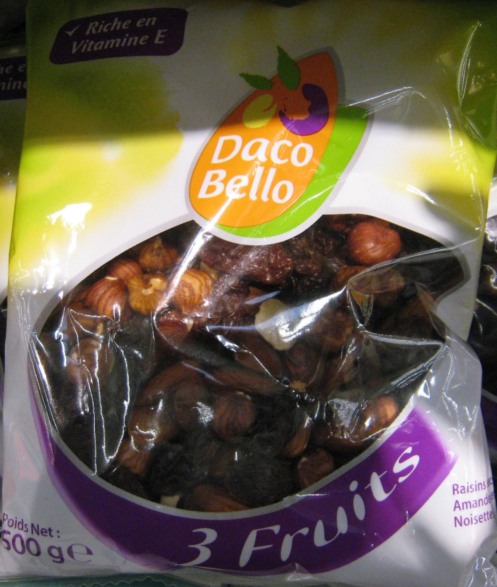 3 Fruits Raisins secs, Amandes, Noisettes Daco Bello - Produit
