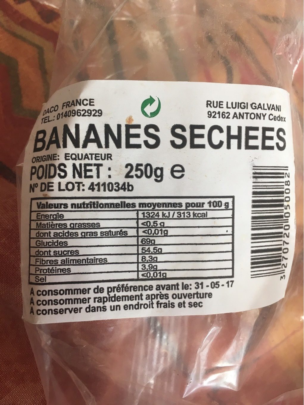 Bananes sechees - Nutrition facts