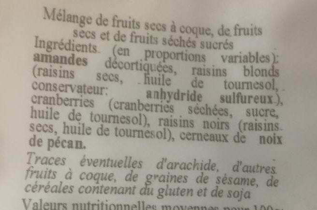 Graines & fruits - Ingredients