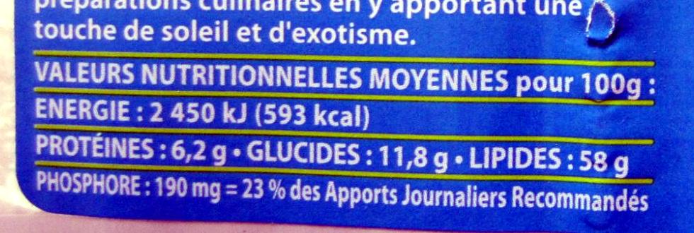 Noix de coco râpée - Nutrition facts - fr
