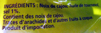 Noix de cajou grillées salées Daco Bello - Ingrédients