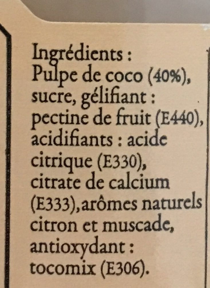 Confiture de Coco - Ingredients