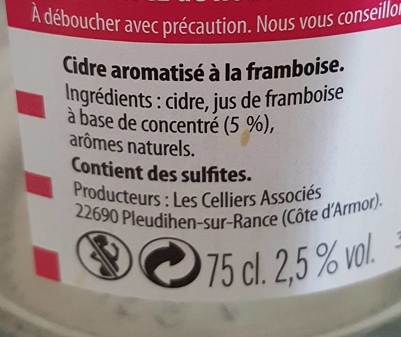 Cidre et framboise - Ingredients