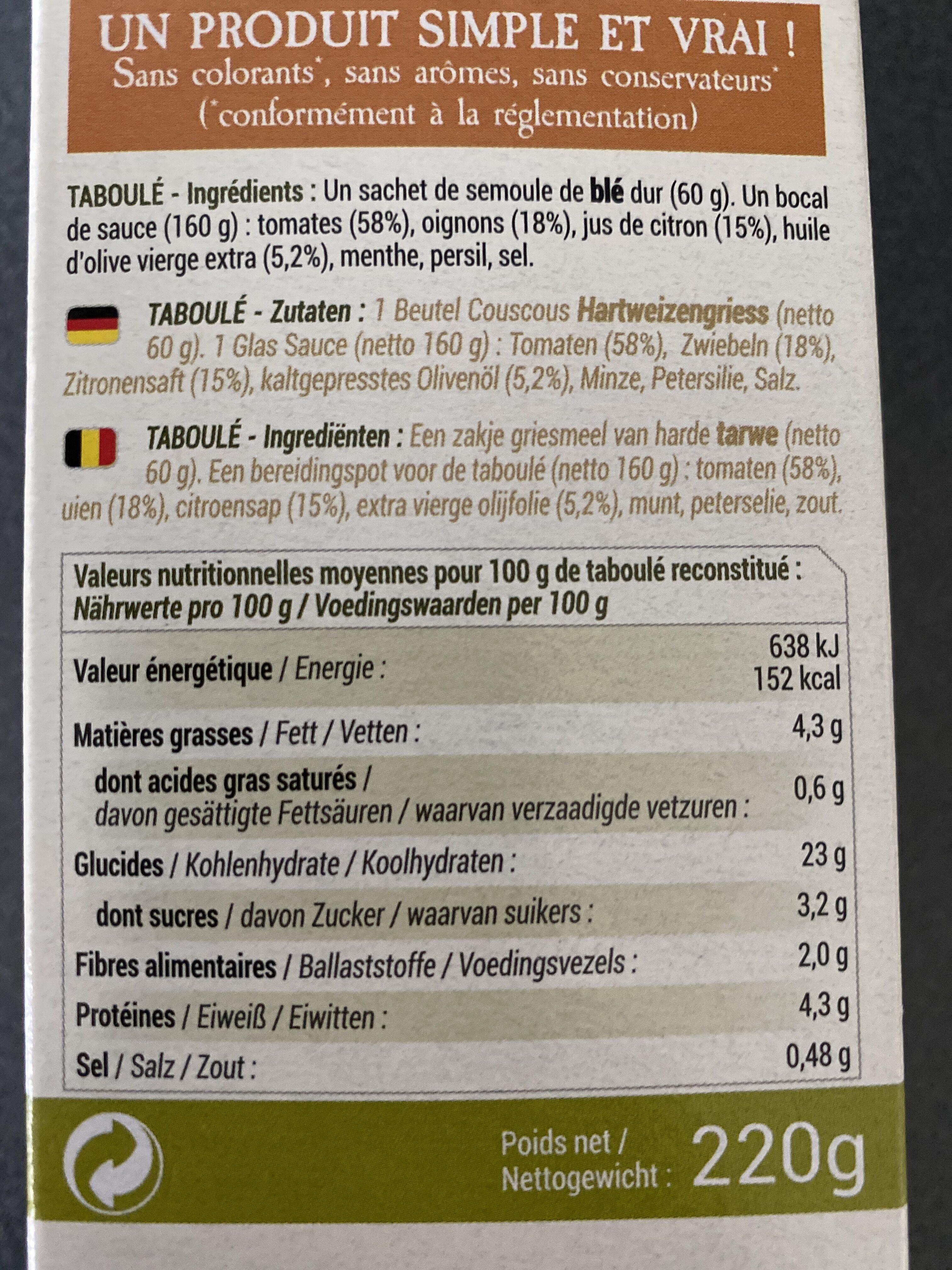 Taboulé - Ingrédients - fr