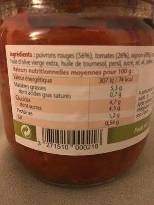 Poivronade Tomates et poivrons cuisinés aux oignons - Valori nutrizionali - fr