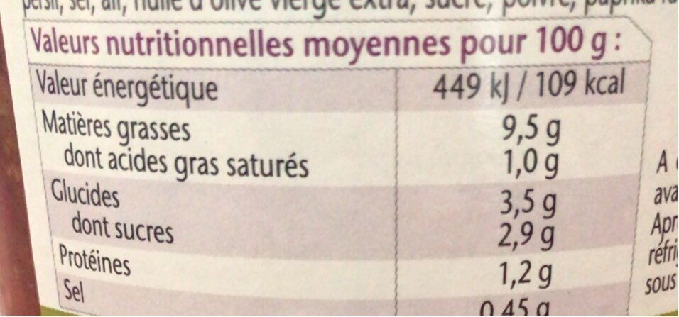 Bohemienne 360GR - Nutrition facts - fr
