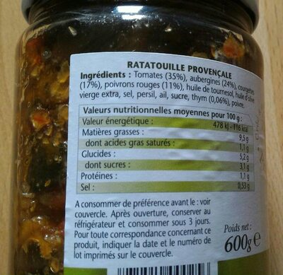 Ratatouille provençale - Informations nutritionnelles - fr