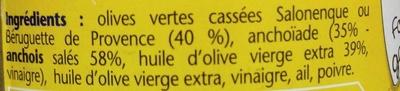 Spécialité à l'Anchoïade douce aux olives vertes de Provence - Ingredients - fr