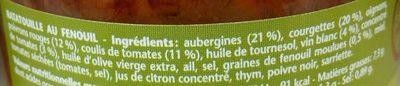 Ratatouille fenouil & vin blanc - Ingrédients