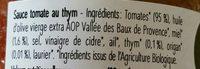 Sauce tomate au thym au miel - Ingrédients - fr