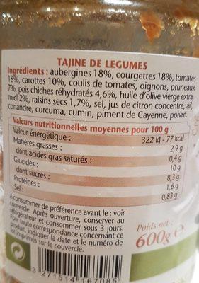 Tajine de légumes - Informations nutritionnelles