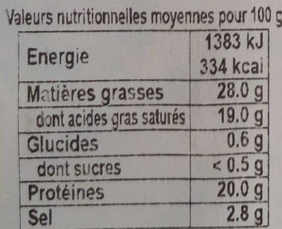 Bleu d'Auvergne AOP - Nutrition facts - fr