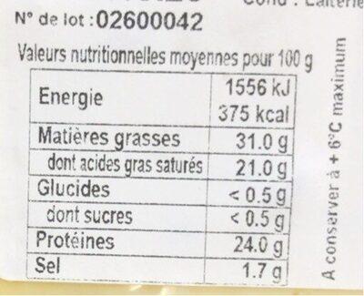 Gouda cumin - Informations nutritionnelles - fr