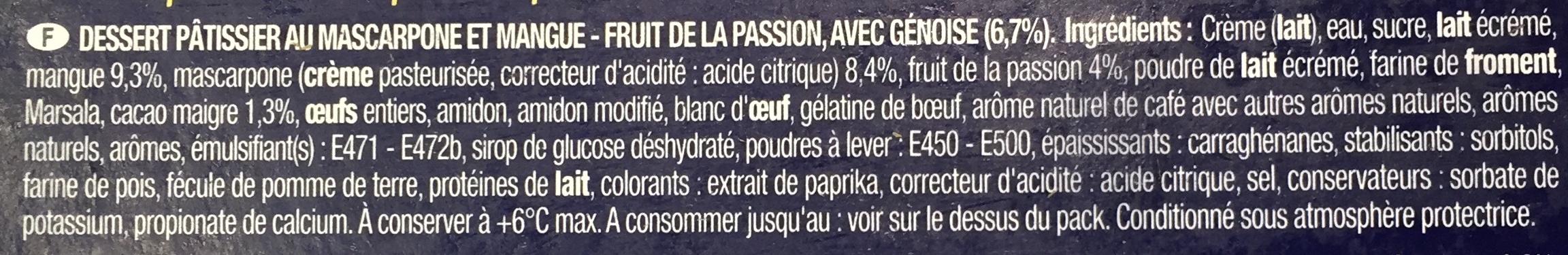 Tiramisu sur lit de mangue & passion - Ingrediënten - fr